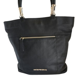 Giorgio Armani Gold Hardware Leather Tote in Black