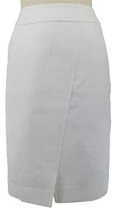 Chanel A-line Asymmetrical Pockets Textured Skirt White