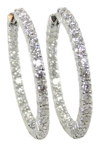 Roberto Coin Roberto Coin 18K White Gold 2.84tcw 30mm Diamond Hoop Earrings