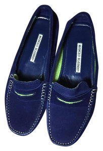 Manolo Blahnik Suede Pointed Toe Loafers Navy Flats