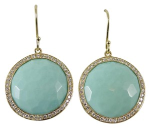 Ippolita Ippolita 18K Yellow Gold .66tcw Large Turquoise Diamond Earrings