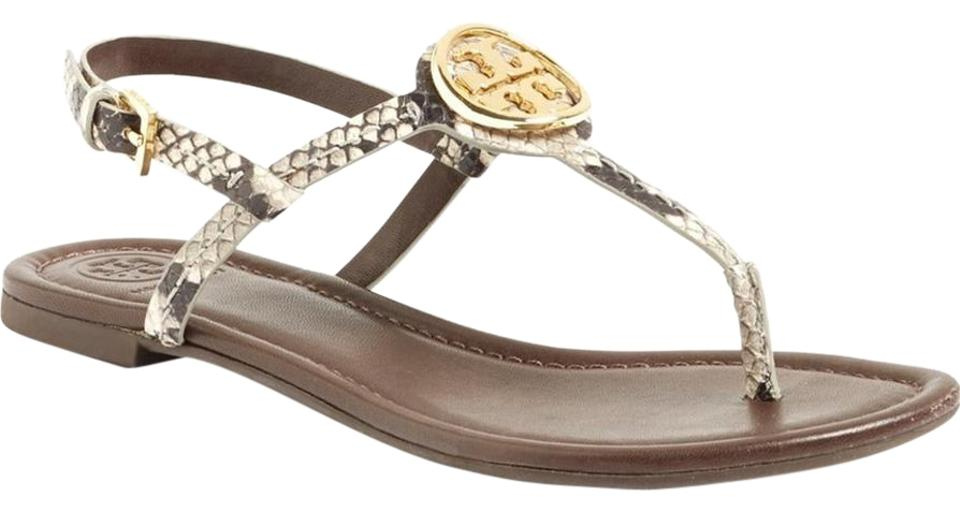 Tory Burch Flat Snakeskin New In Box 'dani' Logo Flat Burch (Nordstrom Exclusive) Sandals 49a349