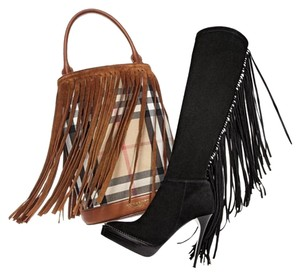 Burberry Knee High Fringe Caitlin BLACK Boots
