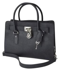 Michael Kors Lock And Key Medium Satchel in Black/Silver Tone Hardware