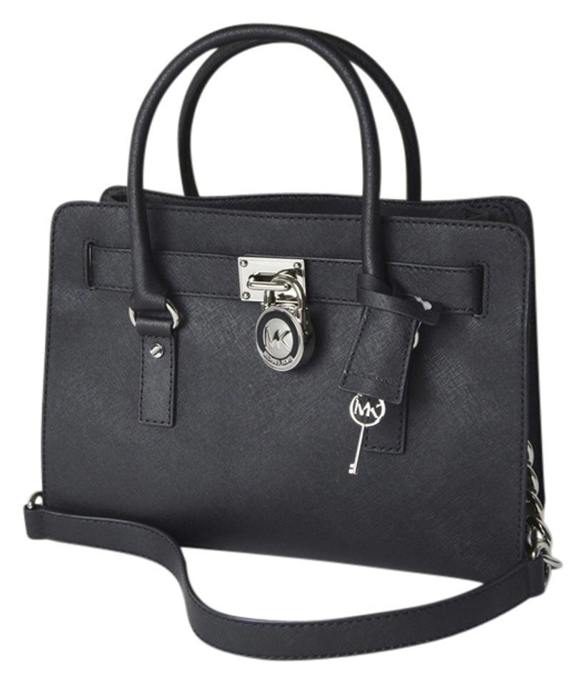 Michael Kors Lock And Key Medium Saffiano Leather Mk Hamilton Satchel In Black Silver Hardware