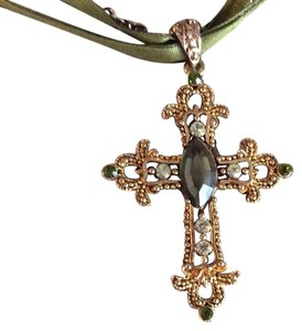 Cookie Lee Cookie Lee gold cross necklace with green jewel accents
