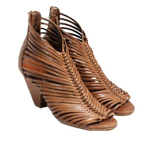 Jeffrey Campbell Leather Cage Heels Tan Sandals
