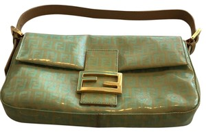 Fendi Sea Green Gold Clutch