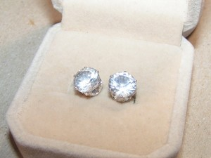 White Topaz Ss Plated Stud Earrings Free Shipping