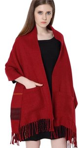 Cashmere Pashmina Group DarkRed* Wool Cashmere Plaid Scarf Reversible Big Pocket Shawl