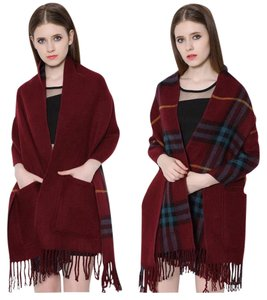 Cashmere Pashmina Group Burgundy * Wool Cashmere Plaid Scarf Reversible Big Pocket Shawl