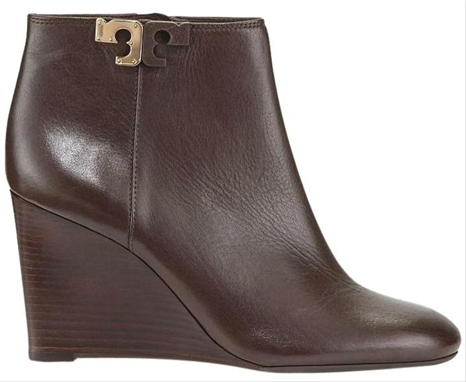f1c25c777d1605 Tory Burch Brown Lowell Wedge Heel Leather Boots Booties. Size  US 7 ...