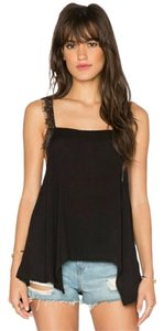 Free People Crepe Lace Trim Tunic Top Black