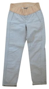 Gap Maternity Gap maternity skinny mini Khakis 6 stripe white blue