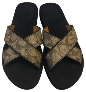 Coach Brown with Black Bottoms Sandals