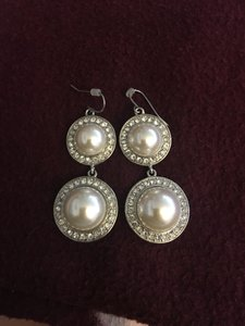 Pearl And Silver Double Drops