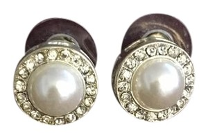 Pearl and Silver Post Earrings