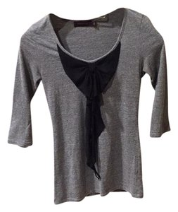 The Limited Top Gray fabric with black accent bow