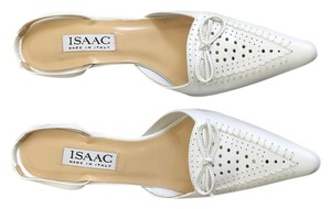 Isaac Mizrahi Leather Pointed Toe Slingback Heels White Formal