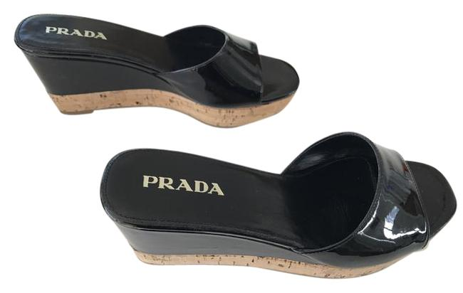 Item - Black Patent Leather Calzature Donna Vernice 2 Nero Cork Wedge Mules/Slides Size US 5 Narrow (Aa, N)