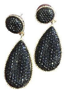 Other Black and Gold Post Drop Earrings with Black Gemstones