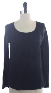 Ann Taylor Lace Long Sleeve Shirt Tshirt Top Black