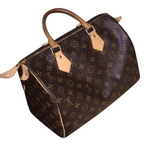 Louis Vuitton Speedy 30 Mini Leather Handbag Satchel in Tan and brown