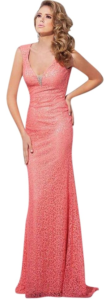 Tony Bowls Coral Evening Long Formal Dress Size 4 (S) - Tradesy