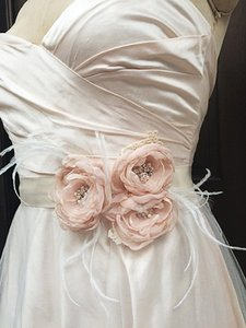 Ivory Bridal Satin Sash Belt With Blush Chiffon Flowers And Feathere