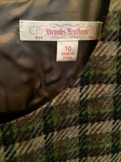 Brooks Brothers short dress Olive, tan and black plaid on Tradesy