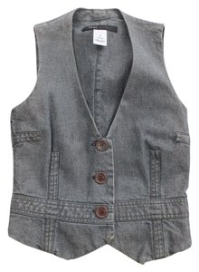 Marc Jacobs Gray Jean Fitted Vest Size 2 Button Down Shirt Blue