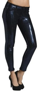 AG Adriano Goldschmied Sequin Skinny Jeans-Coated