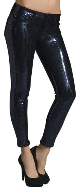 Item - Navy Coated The Legging Sequined Pants Skinny Jeans Size 25 (2, XS)