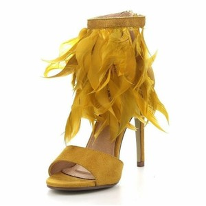 Stushi Co Feather Heels Ankle Strap Mustard Pumps