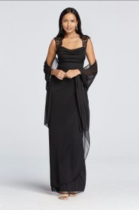 Joanna Chen Black Cap Sleeve Long Jersey Dress With Lace Detail (xs2195w) Dress