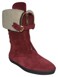 Burberry Shearling Suede Deep Claret Boots