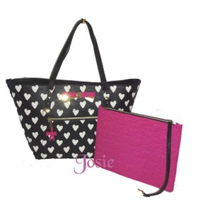Betsey Johnson Gold Hardware Printed Hearts Pouch Tote in BLACK/BONE