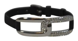 Swarovski SWAROVSKI Black Leather Silver Crystal Buckle One Size On Sale rg