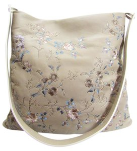 Etro Cross Body Beige Embroidered Tote in Taupe, Beige