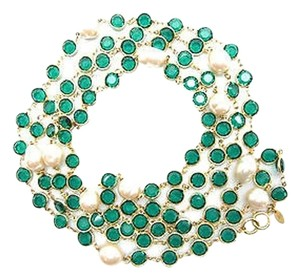 Chanel Vintage Emerald Green Crystal and Pearl Necklace