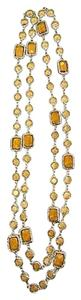Chanel Vintage 1981 Amber Crystal Chicket and Gold Plated Runway Necklace
