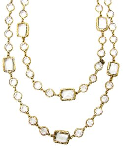 Chanel Vintage Clear Crystal Chicklet Gold Plated Necklace Sautoir, 57