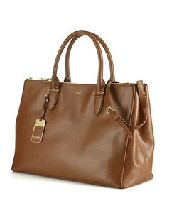 Ralph Lauren Newbury Double Zip Leather Satchel in Tan