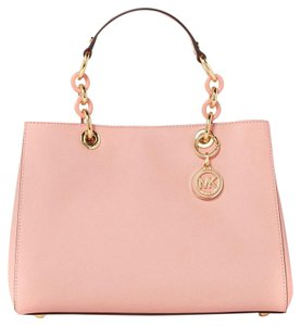Michael Kors Michael Cynthia Medium Saffiano Leather Swingpack Satchel in Pastel Pink