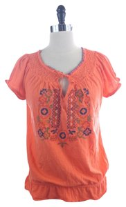 Lucky Brand Short Sleeve Peasant Top Orange