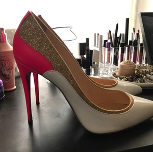 Christian Louboutin Jazz Calf Glitter Mini White/Hot Pink/Glitter Gold Pumps