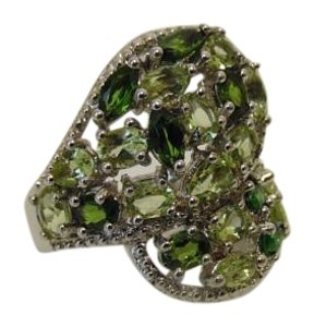 Colleen Lopez Peridot and Chrome Diopside .925 Bypass Ring