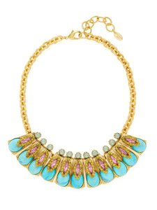 Elizabeth Cole 14K Gold Plated Swarovski Crsytal Bib Necklace