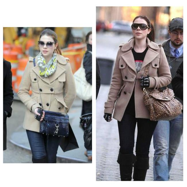 Smythe Double-breasted Tan Wool Size 6 Gossip Girl Style Pea Coat