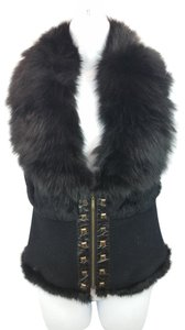 C. Luce Faux Fur Black Top